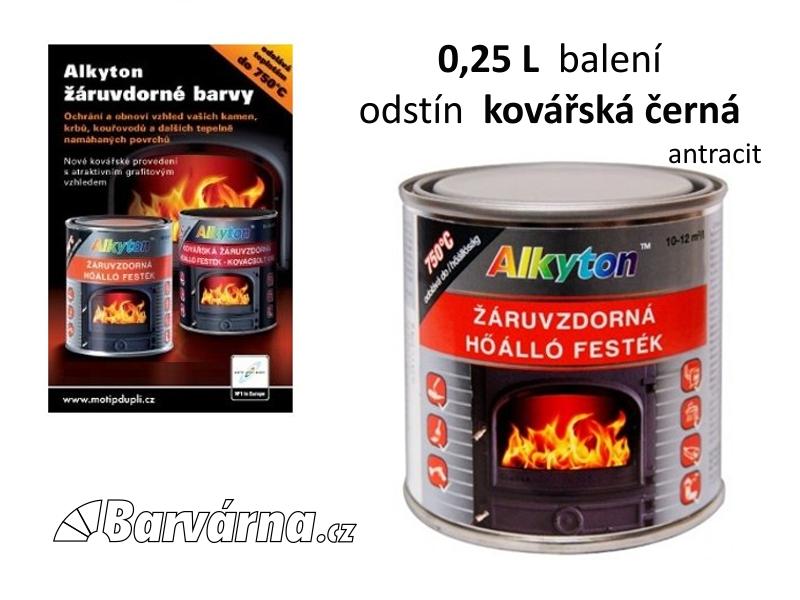 Alkyton žáruvzdorná barva 0,25 L kovářská černá (antracit) 1019-025