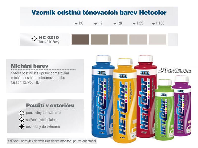 Hetcolor tm. béžový 0210 tónovací barva 1 kg
