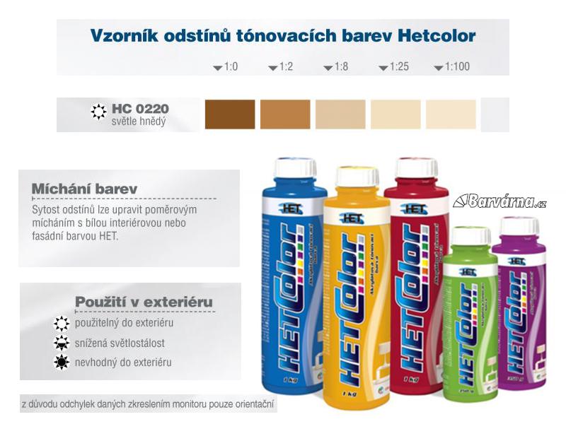 Hetcolor sv. hnědý 0220 tónovací barva 1 kg