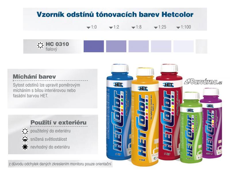 Hetcolor fialový 0310 tónovací barva 1 kg