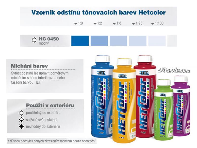Hetcolor modrý 0450 tónovací barva 1 kg