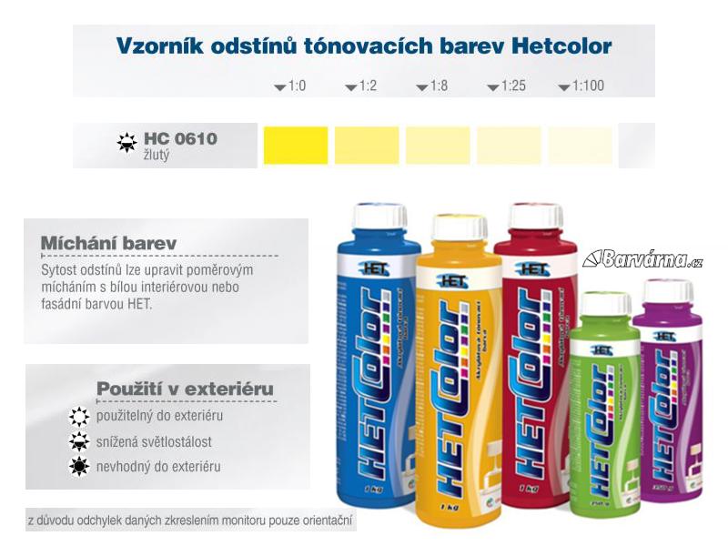 Hetcolor žlutý 0610 tónovací barva 1 kg