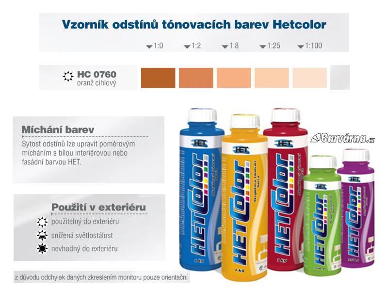 Hetcolor oranž cihlový 0760 tónovací barva 1 kg