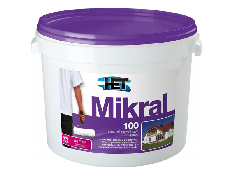 HET MIKRAL 100 - fasádní barva bílá 15+3 kg (18 kg)