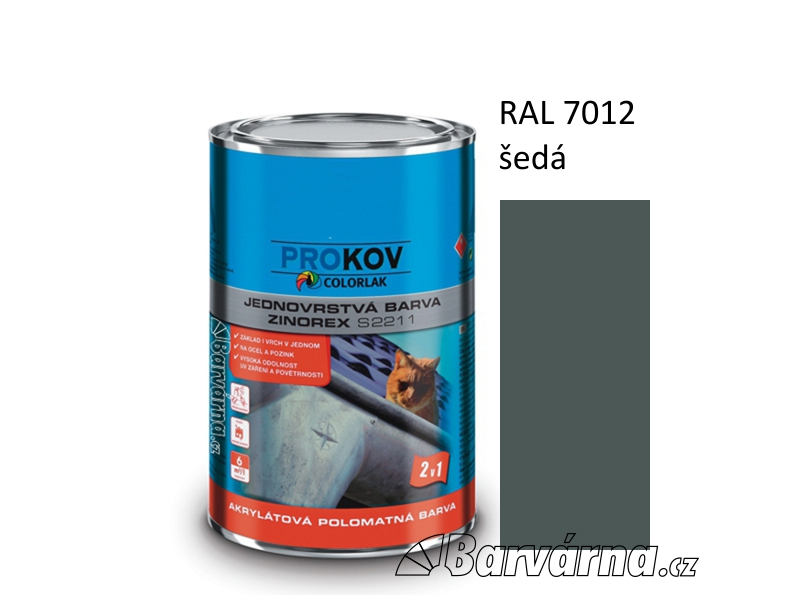 ZINOREX S 2211 šedá tm. RAL 7012 3,5 L