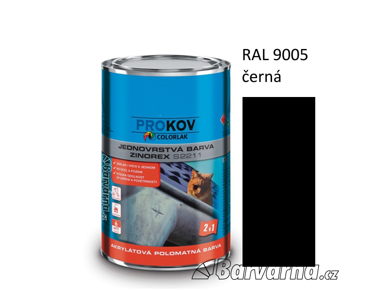 ZINOREX S 2211 černá RAL 9005 3,5 L