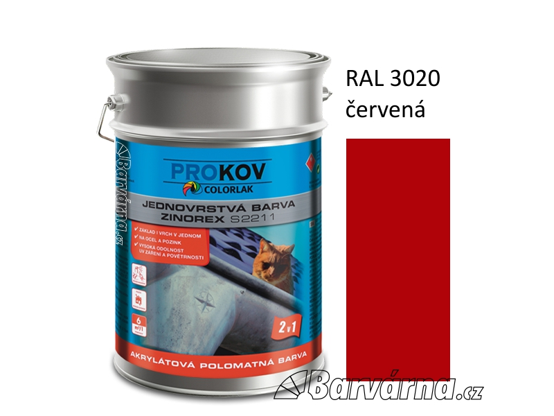ZINOREX S 2211 červená RAL 3020 9 L