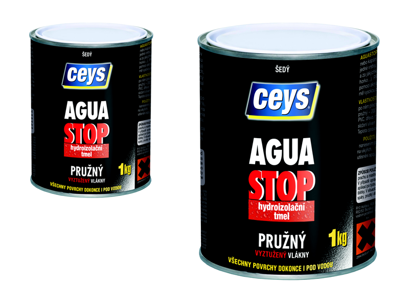 Ceys AGUA STOP šedý 1 kg - hydroizolační tmel s vlákny